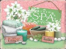 THE SPA PAMPER RELAX - BATH BATHROOM METAL WALL PLAQUE TIN SIGN SHABBY CHIC 101