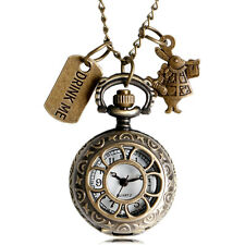Alice In Wonderland Drink Me Necklace Chain Quartz Pocket Watch Women Xmas Gift