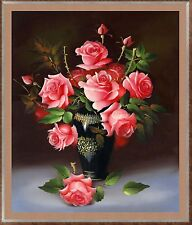 Point de croix style roses rose diamant peinture mosaïque kit 34x40cm