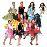 1950s Polka Dot Skirt Ladies Girls Fancy Dress 50's Rock n Roll Fifties Costume