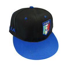 ITALIA ITALY BLACK BLUE FIGC LOGO FIFA SOCCER WORLD CUP HIP HOP HAT CAP ..  NEW