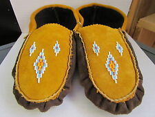NATIVE AMERICAN  MOOSE HIDE MOCCASIN  9 INCHES LONG  SUBLIME DIAMOND VAMP