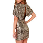 haoduoyi Women's Gold Slim Sequins Bodycon Backless Party Cocktail Mini Dress