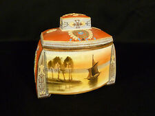 RARE SIGNED NIPPON ENAMELED  SCENIC SAILBOAT HUMIDOR OR TOBACCO JAR - CIRCA 1905