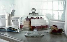 Multi Use Clear Glass Cake Stand Pedestal Display Punch Bowl Chip Dip Platter