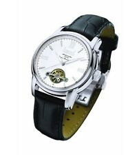 Arbutus Men's Automatic Watch Silver Dial Analogue Black Leather Strap AR507SWB