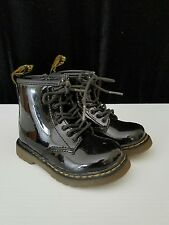 dr martens toddler kids girls brooklee black patent leather boots size 7