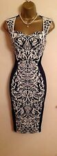 Illusion Same Lipsy Print Fitted Bodycon Navy Floral Evening Party Dress 10 - 12