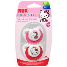 NUK Hello Kitty Orthodontic Pacifier 6-18m 2ea USA Silicone Free Ship
