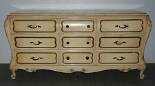 Vintage Large French Provincial Long Dresser Bombe Chest of Drawers