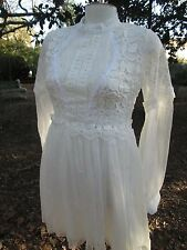 Vintage Custom Original 60s Lace Dress Gown Empire Ribbon Wedding Boho