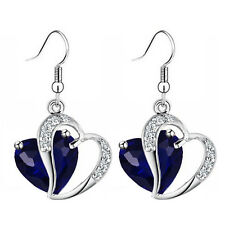 Luxury Sapphire Dark Blue Zircon Two Hearts Silver Tone Drop Earrings E873
