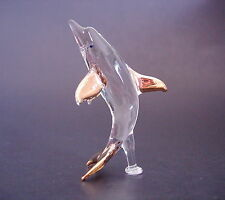 Glass DOLPHIN, PORPOISE, Clear Glass & Gold Painted Ornament Glass Animal Figure