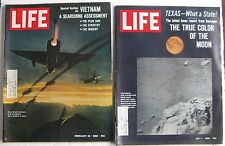 "(2) old 1960's ""LIFE"" Magazines: Vietnam War, The Moon, Indonesia, Texas Grows"