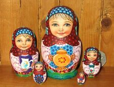 Genuine Russian Dolls 5 Girls SOKIRKINA Small HAND PAINTED Matrioshka Tea Set