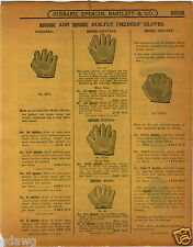 1915 PAPER AD Duk Fut Duck Foot All Finger Wab Baseball Glove Full Web