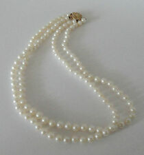 "AKOYA WHITE 5 mm PEARL NECKLACE DOUBLE STRAND 16"" 14K YELLOW GOLD CLASP"