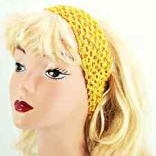 "Hair Band Crocheted Stretchy Fabric Headband 2-3/4"" - Bright Yellow _61-009"