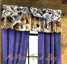 """WOLVES Howling Wildlife WOLF Cabin Lodge Blue WINDOW Treatment VALANCE 20""""x84"""""""