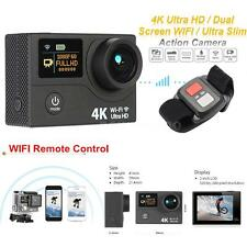 "2"" Dual Screen LCD Ultra HD Wifi Sports Action Camera 4K 15fps 12MP DVR FPV K6P1"