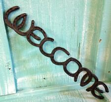 Welcome Horse Shoe Wall Mount Cast Iron Rustic Vintage Old Fashion New 18 1/2x3
