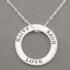 "Circle LOVE FAITH HOPE Christian Charm Pendant 925 STERLING SILVER 18"" Necklace"