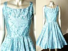 Vintage 50s Silk Embroidered Swing Periwinkle Blue Tea Cocktail Party Dress Xs