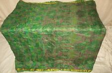 Pure silk Antique Vintage Sari Saree Fabric REUSE 4y Dgi Green CURTAINS #ABR52