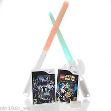 Wii Star Wars Complete Saga Paquete = Lego + Force Unleashed +2 lightbabers + Juguete Gratis!