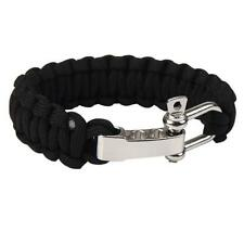 Army Green ParaCord Rope Outdoor Survival Bracelet Camping Steel Shackle Buckle