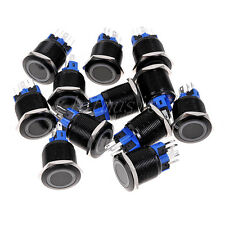 10pcs 22mm 12V Black Metal Latching Push Button Switch Orange LED Indicator