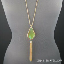 Long Gold Chain Designer Inspired Glass Tassel Pendant Necklace