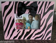 NEW! ZEBRA PRINT  - BLACK AND PINK  PICTURE FRAME- 6 x 4 inch