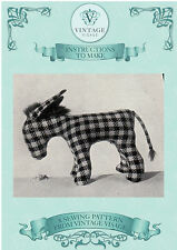 Vintage Visage 1940s wartime Donkey toy sewing pattern-full size paper pieces
