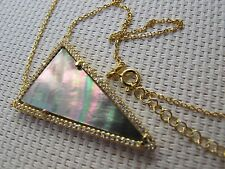 "16"" Triangle Mother of Pearl Pendant 925 Silver with Gold Plated Necklace N39"