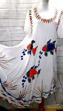 JESSICA TAYLOR WOMEN PLUS SIZE 1X ASYM GYPSY TIE DYE TUNIC DRESS FISH FLORAL