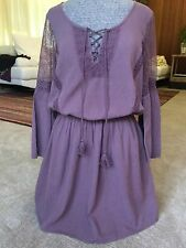 NWT American Eagle Hippie Boho Dress Lace Lavender Small Bell Sleeve $45 Retail