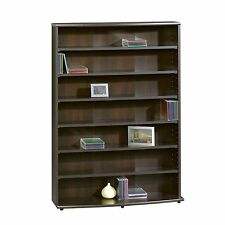 Sauder Multimedia Storage Tower Cinnamon Cherry Shelf Books Cd Dvd Organizer New