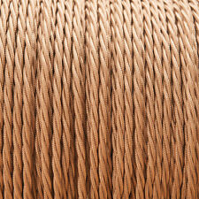 Old Gold Light Brown Twisted Trenzado Tejido Cable 3-core 0.5 mm para el alumbrado