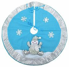 21 Inch Blue & Silver Christmas Tree Skirt - Snowman Design (DS41)