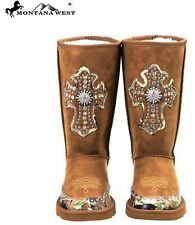 NEW MONTANA WEST RHINESTONE TAN BLACK CAMO CROSS MICRO SUEDE FUR LINED BOOTS