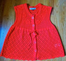 $470 See By Chloe size 8 Crimson Red Knit Vest with scalloped hem. Worn once.