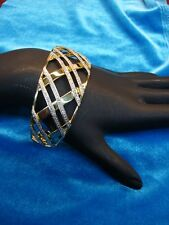 STERLING CUFF BRACELET WITH GOLD VERMEIL & DIAMOND ACCENTS - N.W.O.T. - MUST SEE