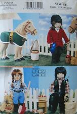 "Vogue 7729 18"" Girl Doll Pattern Horse Western Wear by Linda Carr - Uncut"