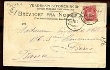 Norway 1904 u/b PPC Nordkap + Nordkap postmarks to Paris