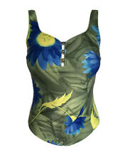 Swimsuit 1 pc 20 W Plus Christina Bathing Suit Floral green blue Low cut bust G1