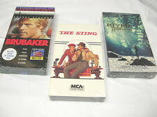 3 NEW Sealed ROBERT REDFORD VHS Tapes THE STING, BRUBAKER, RIVER RUNS THROUGH IT