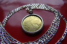 """LARGE CAT JEWELRY, ROARING AFRICAN LION COIN Pendant on a 30"""" 925 Silver Chain."""