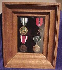 ANTIQUE OAK DEEP SHADOW BOX FRAME WITH (4) U.S. MILITARY MEDALS AND OAK LEAVES