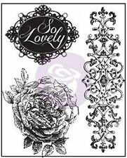 ROSE Flourish So Lovely Bella Rouge Clear Unmounted Rubber Stamps Prima Inc. New